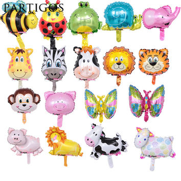 8pcs Mini Animal Foil Balloons Lion & Monkey & Zebra & Deer & Cow Animal Head Air Balloon birthday party Decor Toys Supplies