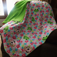 Monkeys, Frogs and Florals Double Layer Toddler Bed Fleece Blanket or Throw, 2 Layer