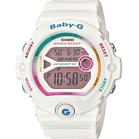 Casio Ladies Baby-G Digital Runners Watch - White - Colorful Accents - 200M WR