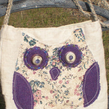 Shabby Chic owl messenger bag of linen, hemp strap, glass seed beads and lace decorations one pocket with snap