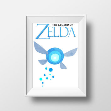 Gaming Poster, Legend of Zelda: Ocarina of Time,  Navi, Fairy, Nintendo, Retro Print