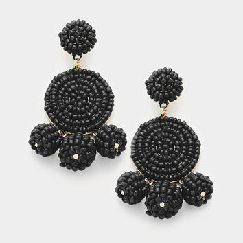 Black Beaded triple ball earrings
