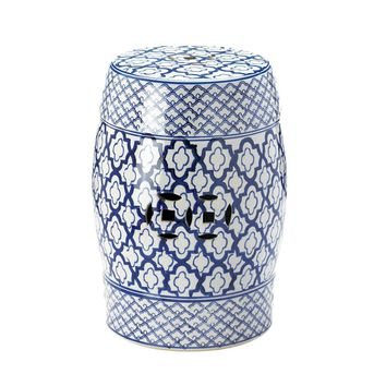 Coastal Living-Blue White Ceramic Garden Stool
