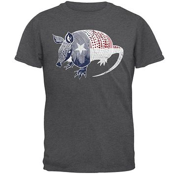 Armadillo Texas State Flag Distressed Silhouette Mens T Shirt