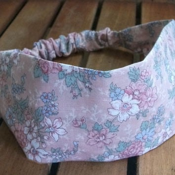 Wide Fabric Headband Wrap Around Pink Background with Beautiful Flowers