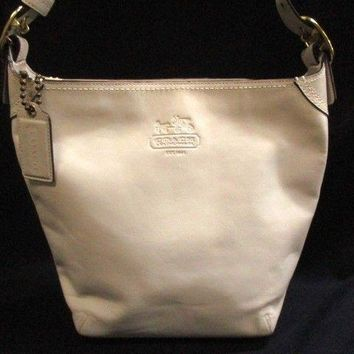 Auth COACH Bleecker Leather Duffel 12376 White Leather Shoulder Bag