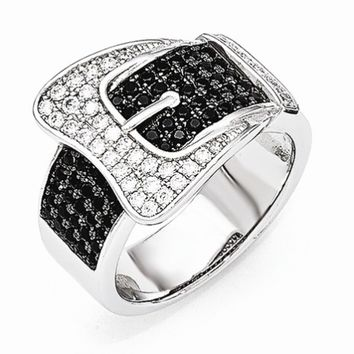 Sterling Silver Buckle Ring with Cubic Zirconias