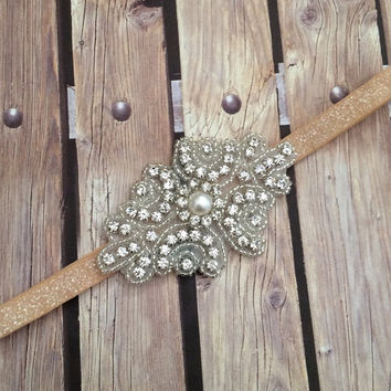 Rhinestone headband, light tan headband, flower girl headband, wedding headband, dressy headband, formal headband, halo, baby headband,