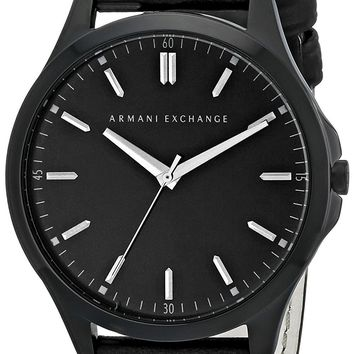 Armani Exchange Men's Black Leather Band Watch
