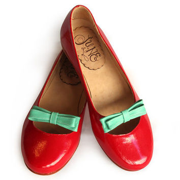 Leather ballet flats in red patent