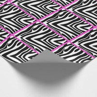 Pink Trimmed Zebra Tiled Wrapping Paper