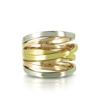 Michael Kors Designer Rings Yellow Rose Gold and Silver Eternity Ring