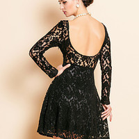 Velvet Backless Black Lace Dress