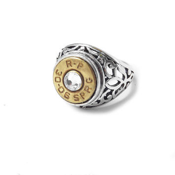 Bullet jewelry ring, silver filigree, country jewelry, wedding gun pistol ammo casings jewelry punk police military gifts hunters  southern