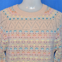 80s Lace Knit Pastel Floral Pullover Sweater Women's Small
