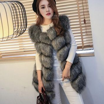 New Arrival 2015 Winter Warm Fsahion Long Women Faux Fur Vest Faux Fur Coat Fox Fur Vest Colete Feminino Plus size 4XL
