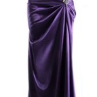 Long Satin Bandage Evening Gown Formal Bridesmaid Prom Dress Brooch Junior Petite Plus - Plum - XS