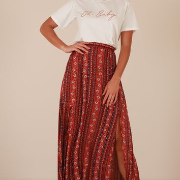Longest Day maxi skirt in red print Produced By SHOWPO