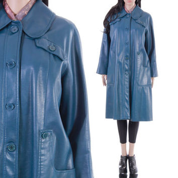 70s Blue PVC Vegan Leather Coat Long A-Line Mod Hipster 60s 1970s Vintage Winter Outerwear Clothing Womens Size Large