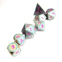 Factory direct sale Dungeons & Dragons 7pcs/set Creative RPG Dice D&D Metal Dice DND Game Dice DND Pearl nickel green font.