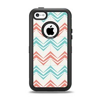 The Vintage Coral & Teal Abstract Chevron Pattern Apple iPhone 5c Otterbox Defender Case Skin Set