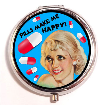 Pills Make Me Happy Drug Retro Kitsch Sweetheartsinner Stainless Steel Pill Box Case