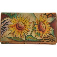 Women's Anuschka Multi-Pocket Wallet/Clutch Sunflower Safari | Overstock.com Shopping - The Best Deals on Checkbooks