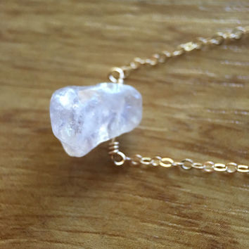14k gold filled Rainbow Mystic Rose Quartz crystal necklace / bridesmaid necklace / minimalist necklace / dainty / January birthstone