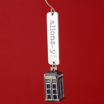 Allons-y! & Geronimo! 3D TARDIS Ornament - Spiffing Jewelry