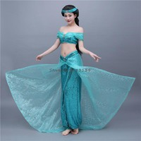 Aladdin and the magic lamp Princess Jasmine Cosplay Costume Female Sexy Dress Halloween Sky blue  Women Beautiful Ball Gowns