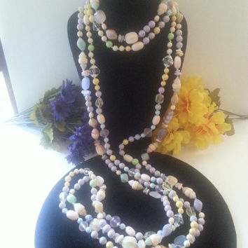Set of 2 Long Flapper Length Necklaces, 74 & 78 Inches, 1960s 1970s Vintage Jewelry, Lavender,Soft Pink,Green,White Spring Colors