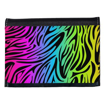 Rainbow Zebra Print Ladies Wallet All Over Print