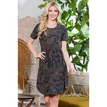 Short Sleeved Baby Doll Camouflage Dress