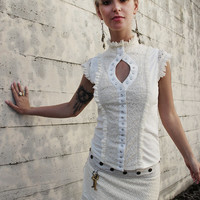 WHITE STEAMPUNK BLOUSE - Steampunk Top Cabaret Burlesque Couture Shirt Steam punk Wedding Bride - Cream Ivory - Size Medium