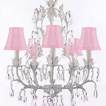 White Wrought Iron Floral Chandelier Lighting W/ Pink Stars And Shades! - G7-Sc/Pinkshade/B38/White/407/5