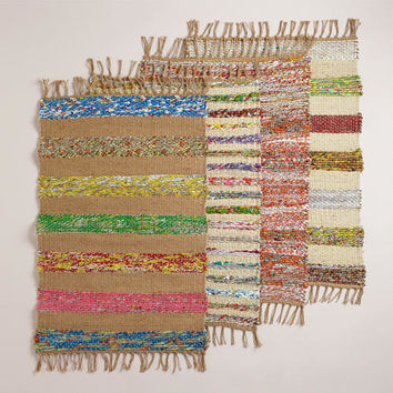 2'x3' Candy Wrapper and Jute Woven Rug