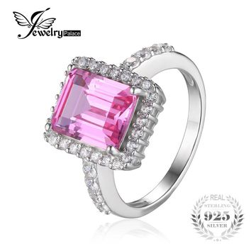 JewelryPalace luxury 4.88ct Created Pink Sapphire Cocktail Ring 925 Sterling Silver-Jewelry For Women New Fashion