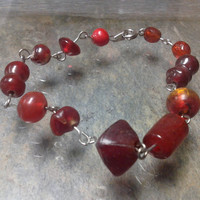 Red Glass Bead Bracelet