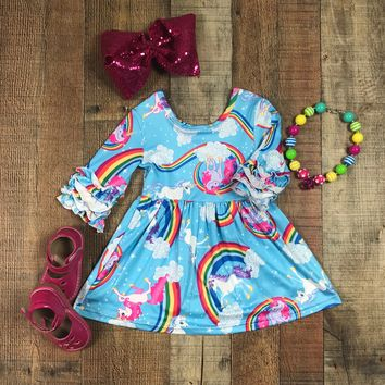 BLOW OUT!! RTS Blue Rainbow Unicorn Icing Ruffle Sleeve Dress D32