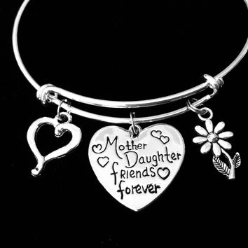 Mother Daughter Forever Friends Jewelry Adjustable Bracelet Expandable Silver Charm Wire Bangle Trendy Mom One Size Fits All Gift