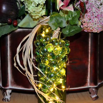 Wine Bottle Lights  Glass 3D Grapes  Housewarming by TipsyGLOWs