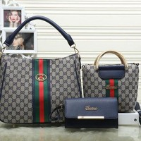 Gucci Women Fashion trending Shopping Bag Leather Tote Handbag Shoulder Bag Three Piece Set G