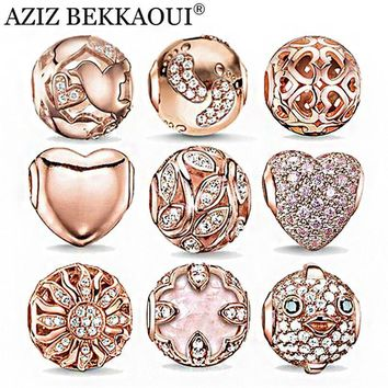 Rose Gold Crystal Beads Fit Pandora Bracelet Necklace Heart Charms Fashion Women Jewel