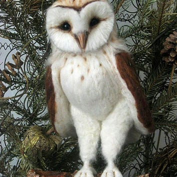 Made to Order -Needle Felted Life Sized Barn Owl OOAK handmade whimsical wildlife fantasy  sculpture ornament  Bird figurine