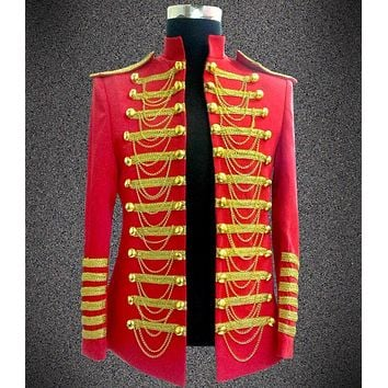 Stage Wear Nightclub Blazer Fashion Casual Red Black Chain Male Slim Costume Clothes Men Singer Ds Performance Jacket