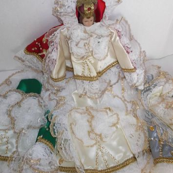 Four Vintage Infant of Prague Outfits for your Statue Silk Lace Sequins Beads