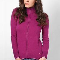 Pink Front Open Zipper Cardigan