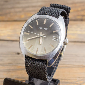 Vintage Poljot mens watch with date window, vintage russian watch, ussr cccp