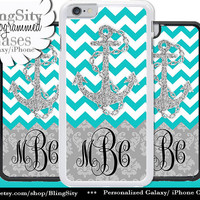 Monogram Damask iPhone 6 Case Anchor Aqua Teal Sparkle Chevrons 5C 6 Plus 5s iPhone 4 case Ipod Touch Personalized
