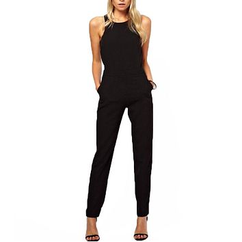 New Arrival 2018 Summer Elegant Womens Rompers Jumpsuit Sleeveless O-Neck Long Playsuits Casual Solid Bodysuit Plus Size S-XL